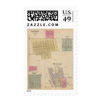 Cheney, Andale, Mulvane, and Milan, Kansas Postage Stamps