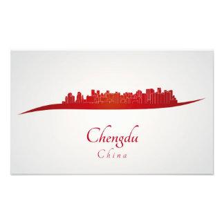 Chengdu skyline in red fotografía