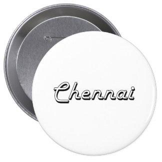 Chennai India Classic Retro Design 4 Inch Round Button