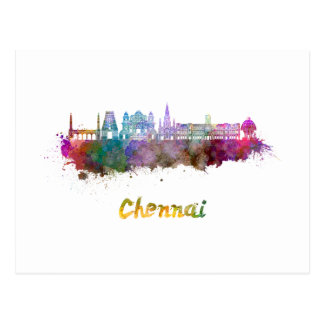 Chennai skyline in watercolor postcard