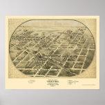 Chenoa, mapa panorámico de IL - 1869 Póster