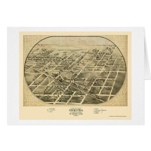 Chenoa, mapa panorámico de IL - 1869 Tarjeta De Felicitación