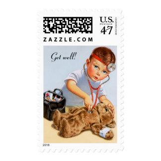 Chequeo del peluche timbre postal