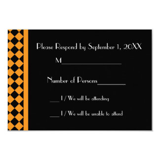ChequerBoard Ebony (Orange/Black) RSVP Card