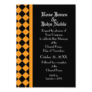 ChequerBoard Ebony (Orange) Wedding Invitation