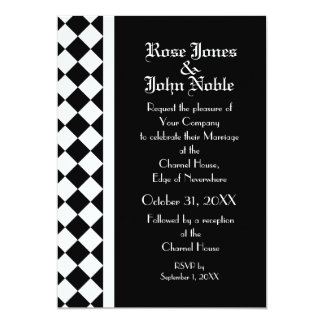 ChequerBoard Ebony (White) Wedding Invitation
