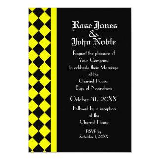 ChequerBoard Ebony (Yellow) Wedding Invitation