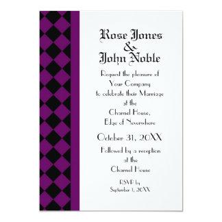 """ChequerBoard (Purple) Wedding Invitation 5"""" X 7"""" Invitation Card"""
