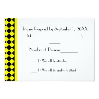 ChequerBoard (Yellow/Black) RSVP Card