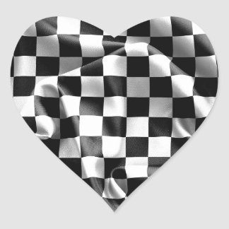 Chequered Flag Heart Shaped Sticker