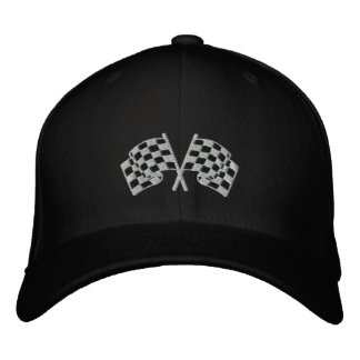 Chequered flag racing motorsport black cap embroidered baseball caps