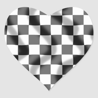 Chequered Flag Slight Ripple Heart Sticker
