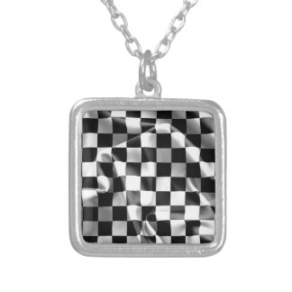 Chequered Flag Square Pendant Necklace