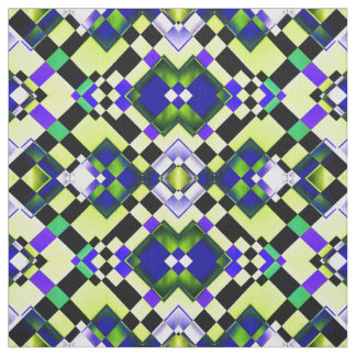 Chequered Green Photo Pattern Tiled Fabric