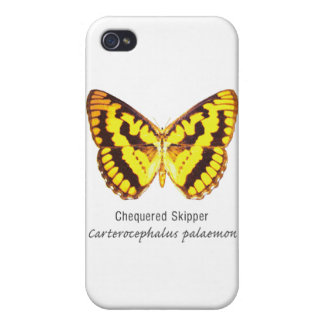 Chequered Skipper Butterfly with Name iPhone 4/4S Case