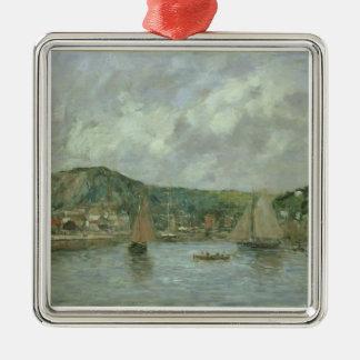 Cherbourg, 1883 (aceite en lona) adorno navideño cuadrado de metal