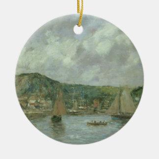 Cherbourg, 1883 (aceite en lona) adorno navideño redondo de cerámica