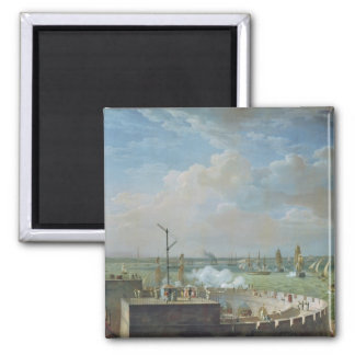 Cherbourg Harbour, 1822 2 Inch Square Magnet