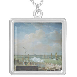 Cherbourg Harbour, 1822 Silver Plated Necklace