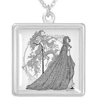 Cherie Amour Vintage Art Silver Plated Necklace! Square Pendant Necklace