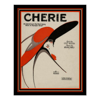 """""""Cherie"""" Deco Foxtrot Sheet Music Print 16 x 20"""