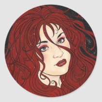 gothic, pinup, woman, face, portrait, red, cherie, cherry, goth, dark, pop, art, fantasy, nymph, zerick, delphine, levesque, demers, vampires, Sticker with custom graphic design