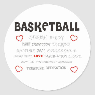 cherish-basketball. classic round sticker