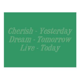 Cherish green postcard