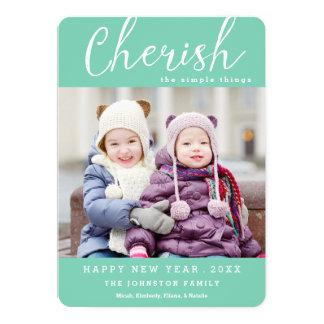 Cherish New Year Photo Card / Custom Color