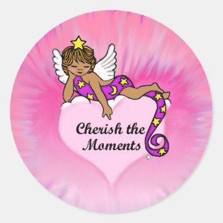 Cherish The Moments Ethnic Angel Classic Round Sticker