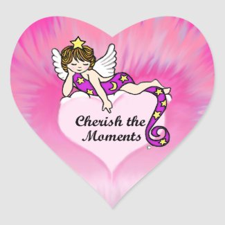 Cherish The Moments Heart Sticker