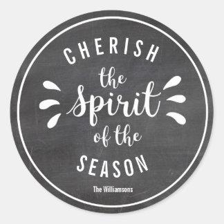 Cherish the Spirit of Christmas Custom Chalkboard Classic Round Sticker