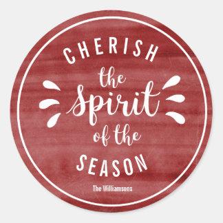 Cherish the Spirit of Christmas Red Watercolor Classic Round Sticker