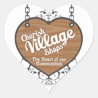Cherish Village Shops Heart Button Heart Sticker