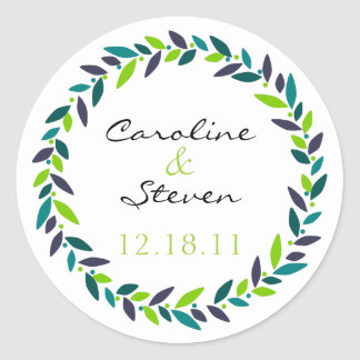 Cherish Wreath Wedding Date Sticker
