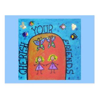 cherish your friends postcard