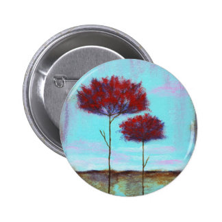 Cherished, Abstract Art Landscape Red Trees 2 Inch Round Button
