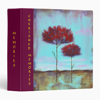 Cherished, Abstract Art Landscape Red Trees Binder