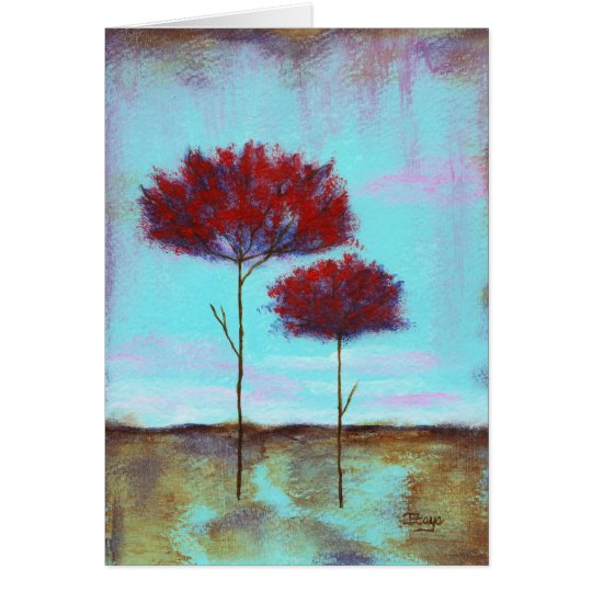 Cherished, Abstract Art Landscape Red Trees Card