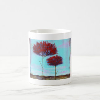 Cherished, Abstract Art Landscape Red Trees Coffee Mug
