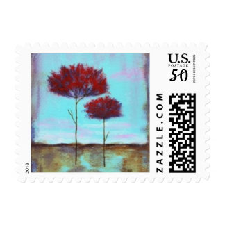 Cherished, Abstract Art Landscape Red Trees Postage