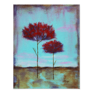 Cherished, Abstract Art Landscape Red Trees Poster