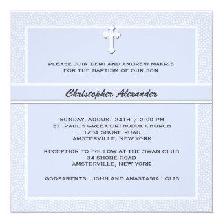 """Cherished Blue - Religious Invitation 5.25"""" Square Invitation Card"""
