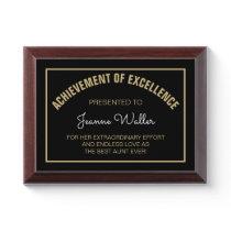 CHERISHED Gift! Custom Best AUNT Award plaque