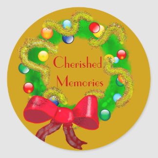 Cherished Memories - Arty Christmas Wreath Classic Round Sticker