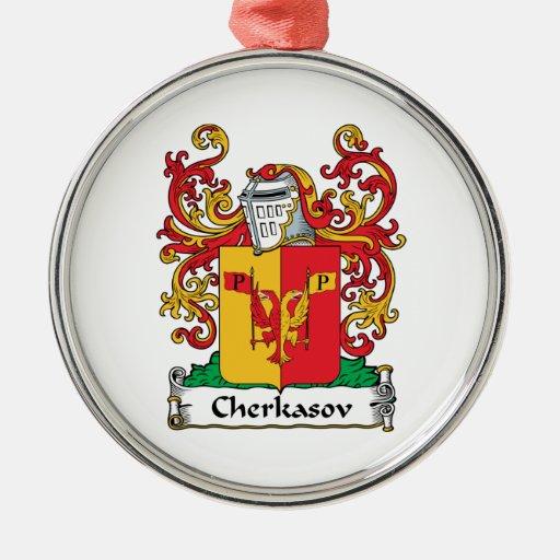 Cherkasov Family Crest Round Metal Christmas Ornament