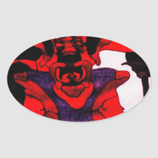 Cherloft the Enforcer Pitbull Puppy Oval Sticker