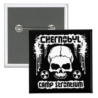 Chernobyl Camp Strontium Radiation Skull Pinback Button