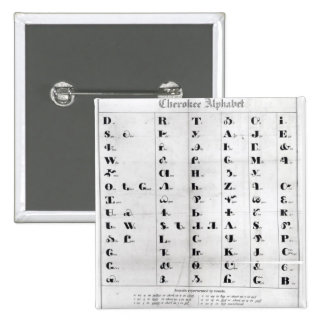 Cherokee Alphabet, Pendelton's 'Lithography' 2 Inch Square Button