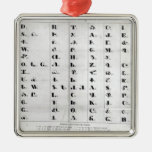 Cherokee Alphabet, Pendelton's 'Lithography' Square Metal Christmas Ornament